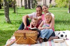 потеха семьи счастливая имеющ парк Стоковая Фотография
