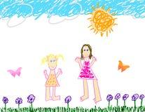 потеха чертежа ребенка вне s бесплатная иллюстрация