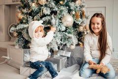 Потеха havung 2 маленьких девочек перед рождественской елкой Стоковая Фотография