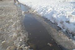 Поток весны, лед и снег, ослеплять солнечный свет, отражение неба в воде стоковое изображение rf