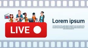 Поток видео- блоггера группы людей онлайн Blogging подписывается концепция бесплатная иллюстрация