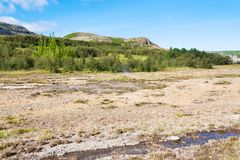 поток в Haukadalur горячем Spring Valley в Исландии стоковая фотография rf