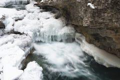 Поток зимы в каньоне Johnston стоковое изображение rf
