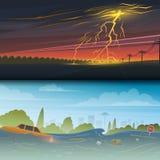 Поток или стихийное бедствие Забастовка без предупреждения и дождь День грозы Плавая отброс Прилив, переполнение, большое иллюстрация вектора