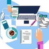 Поток операций в офисе Рабочий стол в минималистичном стиле Вектор шаржа стоковое изображение