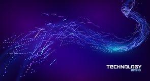 Поток подачи частицы Линия искусство Абстрактная иллюстрация потока данных Предпосылка конспекта подачи частицы Энергия голубая и бесплатная иллюстрация