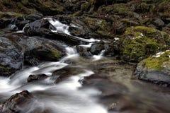 Поток реки горы среди камней Стоковые Изображения