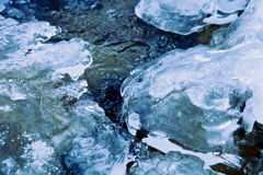 Поток реки зимы под коркой льда Стоковые Изображения