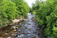 Поток реки форели, Franklin County, Malone, Нью-Йорк, Соединенные Штаты Стоковые Изображения