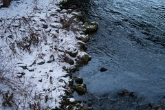 Поток с утесом в снеге стоковое изображение
