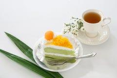 Поток яичного желтка золота cak звонка испечет и Pandan или тайского языка Стоковое Изображение