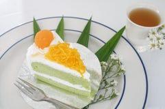 Поток яичного желтка золота cak звонка испечет и Pandan или тайского языка Стоковая Фотография RF