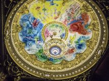 Потолок оперы Garnier, Парижа, Франции Стоковое Фото