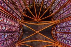 Потолок собора Sainte цветного стекла Chapelle Париж Франция Стоковые Изображения