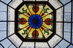 Потолок цветного стекла внутри здания Индианаполиса прописного Стоковые Фотографии RF