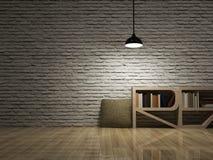 Потолочная лампа с bookcase на деревянной стене кирпичей пола Стоковые Изображения RF