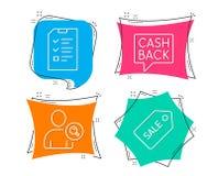 Потребитель находки, значки денежного перевода и интервью Знак билета продажи иллюстрация вектора