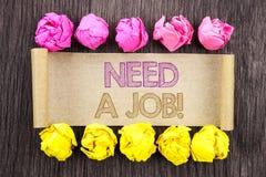 Потребность текста сочинительства работа Поиск работника безработицы смысла концепции безработный для карьеры написанной на липко стоковое изображение
