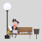 Потревоженный бизнесмен имея обед на скамейке в парке 3d иллюстрация штока