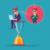 Потревоженный работник сидит на часах с компьтер-книжкой и спешит для того чтобы закончить его проект deadline вектор бесплатная иллюстрация