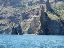 Потухший вулкан Kara-Dag Утес золотистого строба Стоковая Фотография RF