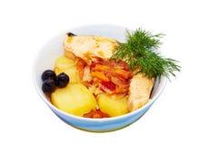 Потушенное блюдо рыб на белой предпосылке Стоковые Изображения RF