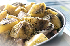 Потушенный, сваренный цыпленок с картошками подготовил для обеда или dinne Стоковое фото RF