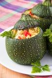 Круглым рис и овощи заполненные courgette стоковое изображение rf