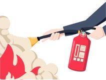Потушите пожар Владение пожарного в огнетушителе руки Дизайн иллюстрации вектора плоский белизна изолированная предпосылкой иллюстрация штока