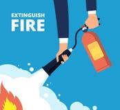 Потушите пожар Пожарный с огнетушителем Непредвиденные тренировка и защита от пламени vector концепция иллюстрация вектора