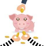 Похитители вручают красть монетку денег от копилки бизнесмена Стоковые Фотографии RF