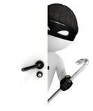 похититель белых человеков 3d смотря за дверью Стоковое Изображение RF