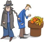 Похититель крадя шарж бумажника Стоковое Изображение