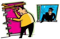 Похититель ломает в дом Стоковая Фотография