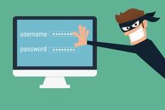 похититель Хакер крадя уязвимые данные как пароли от персонального компьютера Стоковые Изображения