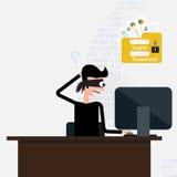 похититель Хакер крадя уязвимые данные как пароли от персонального компьютера Стоковые Фотографии RF
