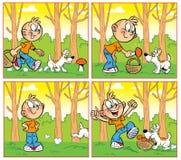 Поход грибами бесплатная иллюстрация