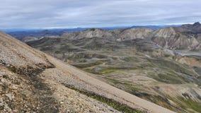 Поход Skalli - Landmannalaugar, короткий трек близко к горячие источники стоковые изображения rf