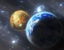 похожая на Земл планета с луной Стоковая Фотография RF