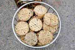 Похожий на диск basketwork используемый для упаковки рыб, особенно мам Стоковое Фото