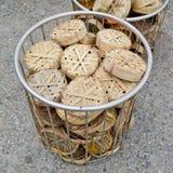 Похожий на диск basketwork используемый для упаковки рыб, особенно мам Стоковое Изображение
