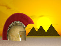 похороненный греческий шлем иллюстрация вектора