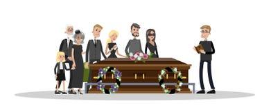 Похоронная церемония на кладбище бесплатная иллюстрация
