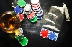 Поцарапайте лекарство стекла спирта кокаина наркомании концепции фото Стоковое Изображение RF