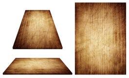 Поцарапанная коричневая деревянная доска, таблица, поверхность пола, деревянная текстура Предметы изолированы на белой предпосылк Стоковые Изображения
