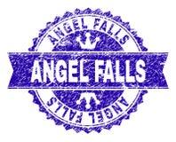Поцарапанное текстурированное уплотнение печати ANGEL FALLS с лентой бесплатная иллюстрация