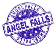 Поцарапанное текстурированное уплотнение печати ANGEL FALLS иллюстрация вектора