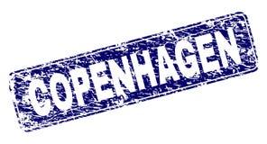 Поцарапанный КОПЕНГАГЕН обрамил округленную печать прямоугольника иллюстрация штока