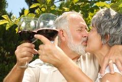 поцелуи пробуя вино Стоковые Фото