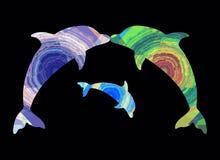 Поцелуй дельфинов и младенца дельфина, абстрактной картины, семьи Стоковое Изображение RF